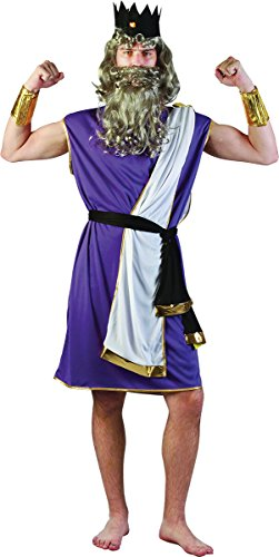 Mens Roman Greek God Stag Night Fancy Party Outfit King Neptune Complete Costume