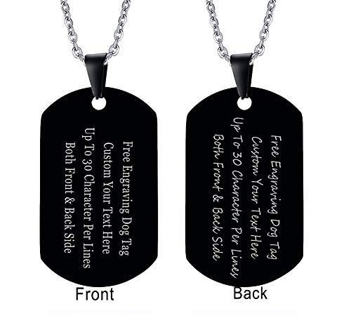XUANPAI Black Custom Name Men's High Polished Army Dog Tag Pendant Necklace Personalized Gift