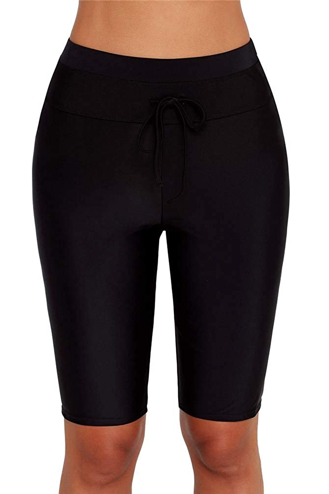 Nicetage Womens Long Board Shorts High Waisted Tankini Swimwear Shorts Rash Guard Skinny Capris Swim Shorts