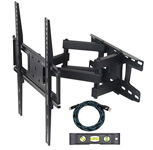 Eco-best Full-Motion Articulating Dual Arm Tilt TV Wall Mount Bracket for 20 - 55 inch LCD LED Plasma Flat Panel Screen VESA up to 400x400mm, 77 lb Weight Capacity, Free 6 ft HDMI Cable, Black