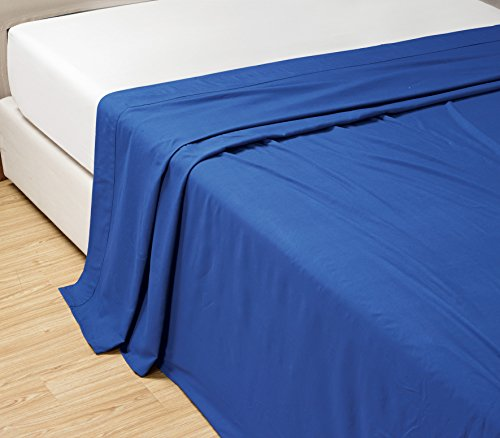 QUEEN size, ROYAL BLUE Solid Flat Bed Sheet -Super Silky Sof