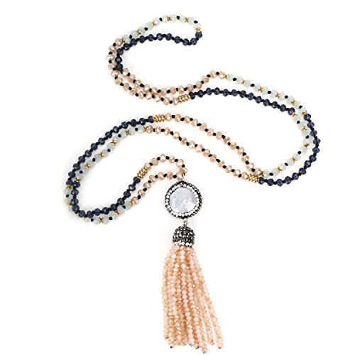 Gemstone Glass Shell Pendants - BOUTIQUELOVIN Beaded Tassel Fringe Gemstone Pendant Long Seedbead Crystal Y Shape Necklace for Women (Grey)