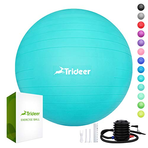 - Trideer Exercise Ball (45-85cm) Extra Thick Yoga Ball Chair, Anti-Burst Heavy Duty Stability Ball Supports 2200lbs, Birthing Ball with Quick Pump (Office & Home & Gym)