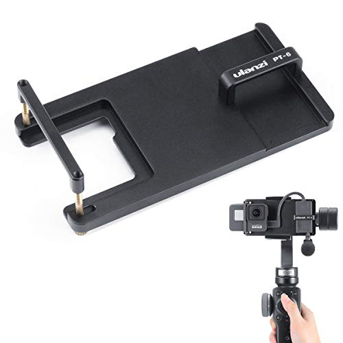 ULANZI PT-6 OSMO Action Adapter Plate with Microphone Storage for Gopro Hero 7 6 5, Switch Mount Plate for DJI OSMO Action Zhiyun Smooth 4 MOZA Mini-S Feiyu SPG2 Vimble Smartphone Gimbal Accessories