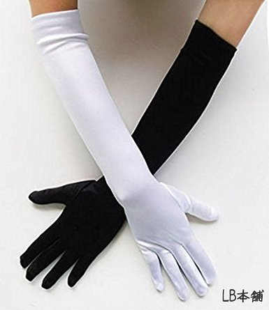 LB honpo beautiful sewing! luxury gloves 58 cm wedding, for, white (white) long satin gloves made