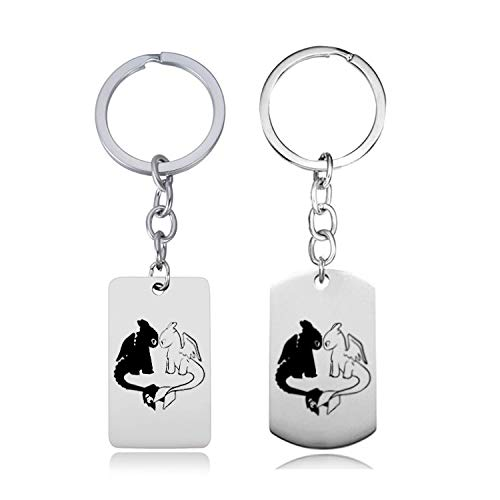 Chris.W Dragon Key Chain Key Ring Keychain for Couples, Stainless Steel Dragon Key Tags Pendants(1 ()
