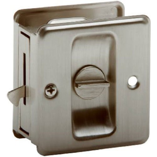 SCHLAGE LOCK CO SC991B-619 Sliding DR Lock, Satin Nickel (Door Lock Nickel Pocket)