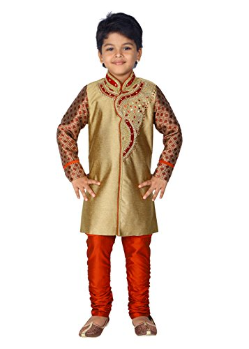 Ahhaaaa Kid's Ethnic Indian Hand work embroidery Sherwani and Breeches Set Special Traditional Collection for Boys (3-4 Years, Maroon) ()