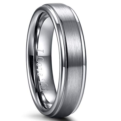 Mens Wedding Rings Band Tungsten Carbide Ring for Women Engagement Band 6mm 8mm Comfort Fit Engraved ()