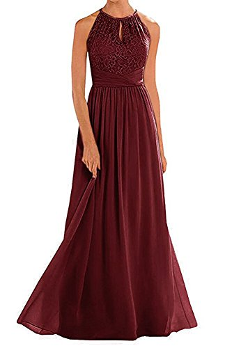 (Firose High Neckline Halter Lace A-line Chiffon Floor-Length Bridesmaid Dress Dark Burgundy US24 Plus)