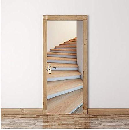 PANDABOOM Escaleras De Madera Imagen Murales De Pared Pegatinas De Pared Etiqueta De La Puerta Papel Tapiz Calcomanías Decoración del Hogar 90X200Cm: Amazon.es: Hogar