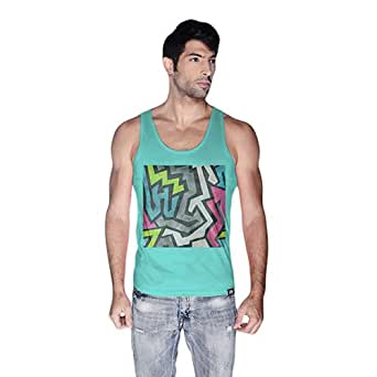 Creo Abstract 01 Retro Printed Tank Top For Men - L, Green