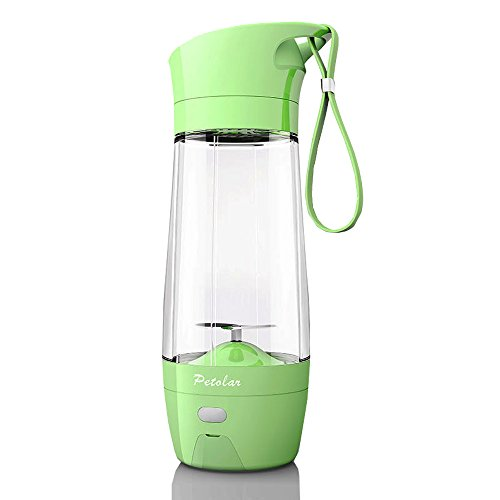 Topfit USB Juicer Cup, Fruit Mixing Machine, Portable Personal Size Eletric Rechargeable Mixer, Blender, Water Bottle 430ml with USB Charger Cable for Sports, Working, Kitchen, Dining (Green)
