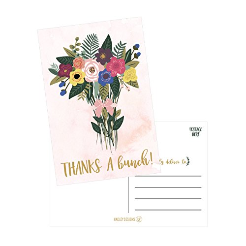 50 4x6 Watercolor Floral Thank You Postcards Bulk, Cute Boho Flower Thank You Note Card Stationery For Wedding, Bridesmaid, Bridal or Baby Shower, Teachers, Appreciation, Religious Event, Business Etc