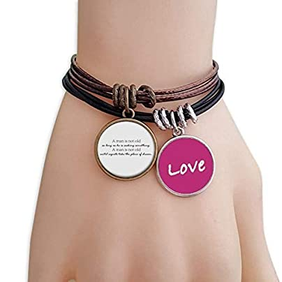 Metftus Quote One Not Old When Seeking Something Love Bracelet Leather Rope Wristband Couple Set Estimated Price -
