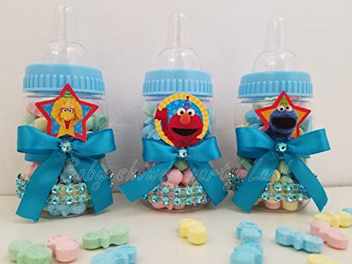 Baby Shower 12 Elmo Sesame Street Favors Bottles RECUERDOS Prizes Games Boy Blue Decoration Gifts