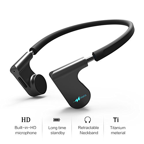G-Fire Fifth Gen Bone Conduction Bluetooth Headset – IPX5 Waterproof Earphones W/Built-in HD Microphone – Made of Titanium & Non-Slip, Hypoallergenic Silicone – Ideal for Sports & Outdoor Activities - Gen Headphone