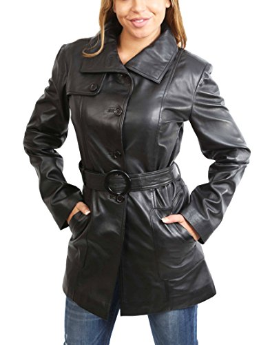 Womens Real Leather Black Trench Coat Waist Belted Mid Length Fitted Jacket Alba (Medium) Genuine Trench Coat
