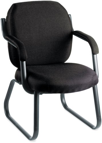 Global 4735BKPB09 Commerce Series Guest Arm Chair, Sled Base, Black Fabric