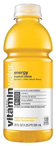 Glaceau VitaminWater Nutrient Enhanced Water Beverage, Energy (Tropical Citrus), Vitamin B + Guarana, 20 oz (Pack of - Beverage Enhanced Water Nutrient