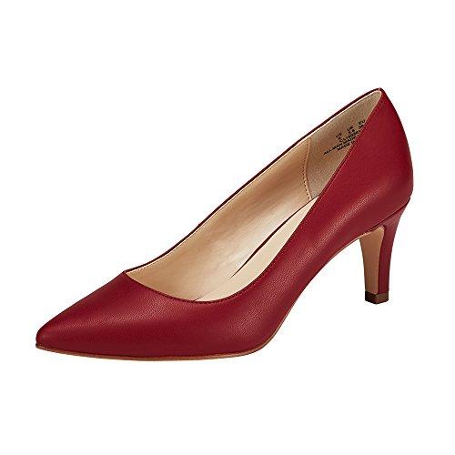 JENN ARDOR Women's High Heels Ladies Pointed Toe Slip On Mid Heel Dress Party Pumps Red 9 (Pointy Toe Women Dress Pump)