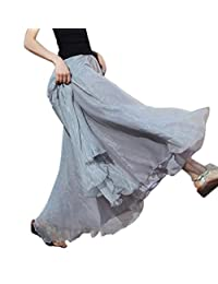 Aivtalk Women Chiffon Long Skirt Ankle Length Summer Beach Retro Gauze Skirt