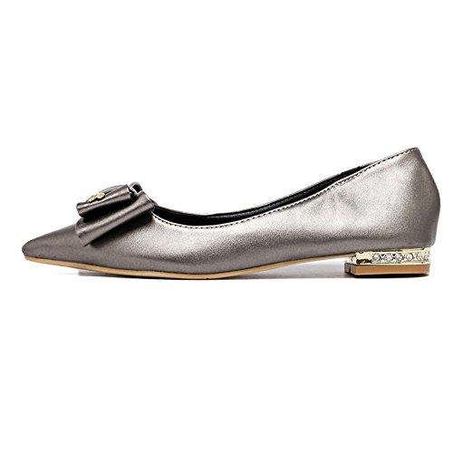 cooshional Damen Ballerinas Schleife Elegant Sommer Strass Flache Schuhe Grau