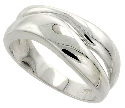 Sterling Silver Freeform Ladies Ring Flawless Quality Finish 3/8 inch Wide, Size 10