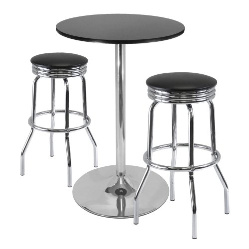 Winsome 3-Piece Summit Bar / Pub Table Round Top With 2 Swiv