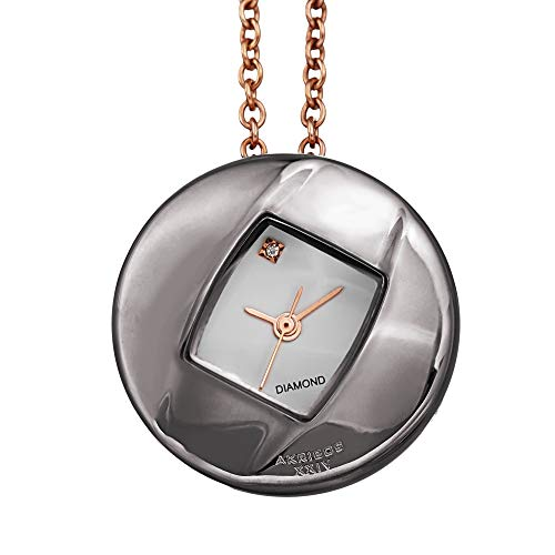 Akribos XXIV Women's Diamond Pendant Watch – Long Stainless Steel Chain Necklace with Elegant Stainless Steel Square Watch, Glossy - AK1053GN