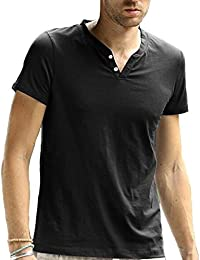 Men T-Shirts Summer Casual V-neck Button Short Sleeve Tees