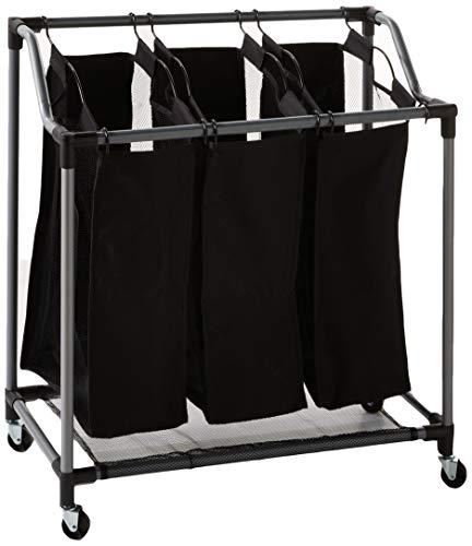 Home Basics Sunbeam Heavy Duty Triple Laundry Hamper Sorter Rolling with Wheels, Black