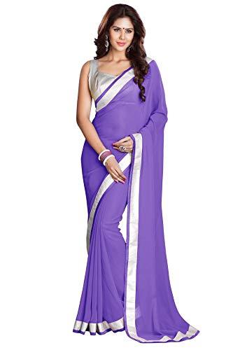 llyDance Indian Saree Sari - Silver Border Medium Purple ()