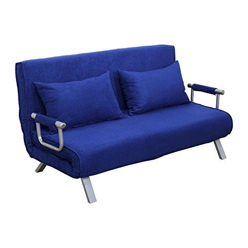 "HomCom 61"" Folding Futon Sleeper Couch Sofa Bed - Blue"