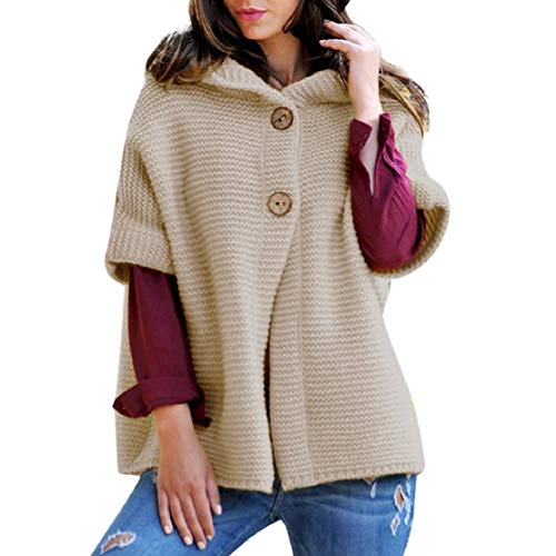 LowProfile Women Winter Half Sleeve Knitting Coat Hooded Sweatshirt Plain Cardigen Button Soft Comfy Hoodie Warm Vest Beige