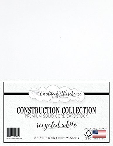 Recycled White Cardstock Paper - 8.5 x 11 inch Premium 80 LB. Cover - 25 Sheets from Cardstock Warehouse