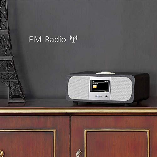 Lemega M3+ Internet Radio & Wireless Smart Speaker (HI-FI 2.1 Stereo) with FM, Bluetooth Music Streaming, Spotify Connect, Remote & App Control, Dual Alarm, Colour Display (Black Oak) by LEMEGA (Image #6)