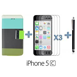 OnlineBestDigital - Rainbow Cover PU Leather Wallet Case for Apple iPhone 5C - Black with 3 Screen Protectors and Stylus