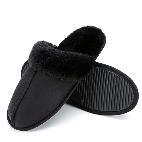 Price comparison product image FUNKYMONKEY Warm Slippers Faux Fur Slip On Womens House Shoes (9-10 B(M) US / 10.83inch (Insole Length),  Black)