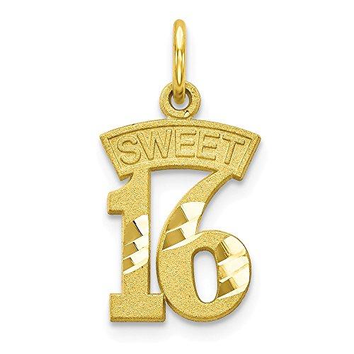 10k Yellow Gold Sweet 16 Pendant Sixteenth Birthday Charm Fashion