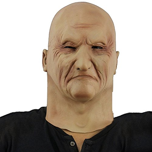Realistic Latex White Man Mask Old Male Disguise Halloween Fancy Dress Bruiser