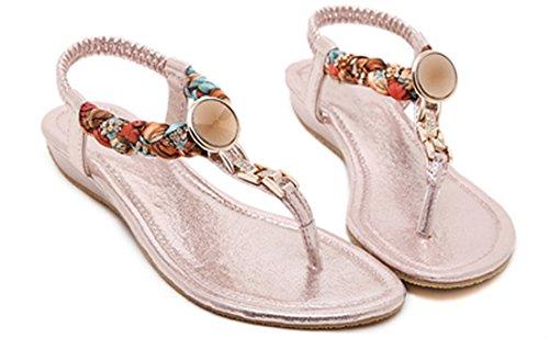 VECJUNIA Ladies Summer Clip Toe Sandals Boho Beach Flip Flops Elastic Slip On Shoes Pink oPvMzm