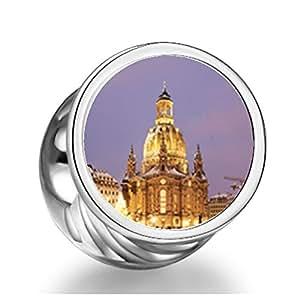 925 Soufeel de plata de ley nieve Night Frauenkirche Dresden Alemania redondo colgantes de fotos