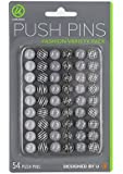 U Brands Fashion Steel Push Pins, Black White & Gray Assorted Colors, 54 Count (575U06-24)