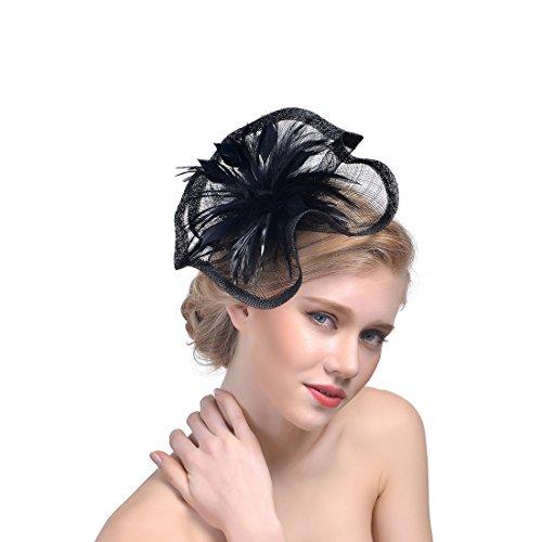 SMSW Fascinator Top Hats Feather Cocktail Hair Clip Tea Party Derby Headband Women Girls Flower Headwear Black -