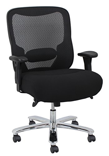 Essentials Big and Tall Executive Chair – Fabric and Mesh Office Chair with Adjustable Arms, Black (ESS-200-BLK)
