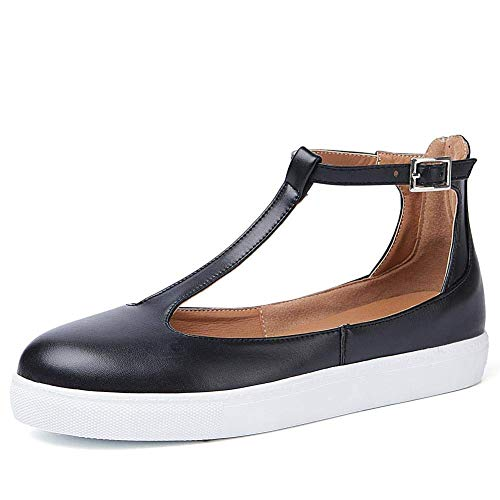 RUNSUN DAILY Mary Jane Shoes Flats Sandals for Women T-Strap Slip On Sneakers Leather Summer Shoes with Buckle Ankle Strap Black ()