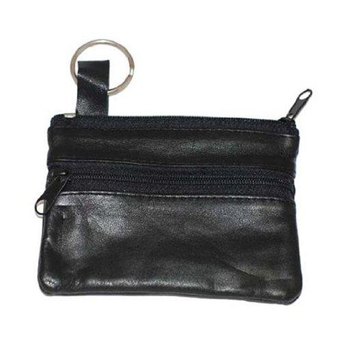 Marshal Womens Leather Change Purse w/ Key Ring (Black)