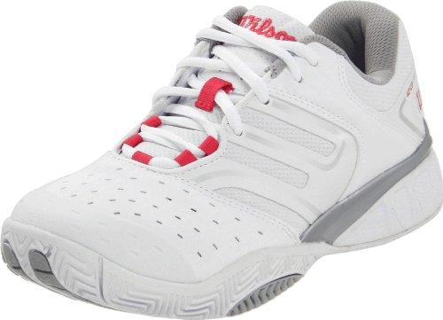 Wilson Women's Tour Ikon Tennis Shoe,White/Silver/Super Pink,10 M US