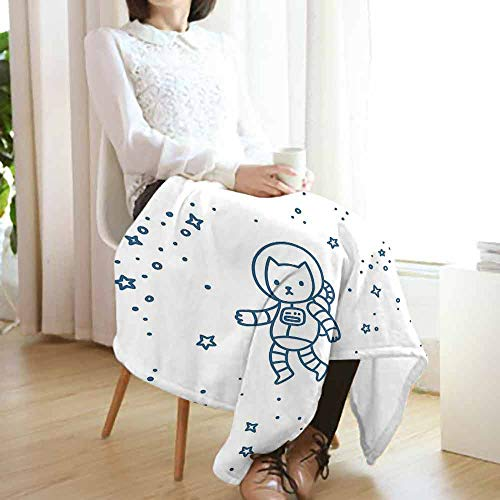 vanfan-home Kids Flannel Fleece Blanket,Cute Cartoon Astronaut Pioneer Cat Flying in Outer Space Doodle Style Constellation Lightweight Blanket for Couch(62